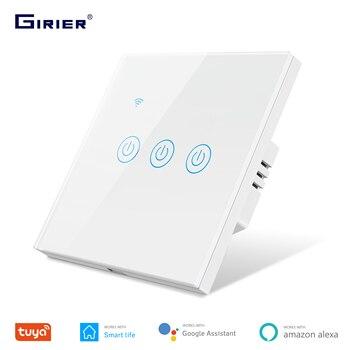 Tuya Smart Wifi сенсорный светильник Переключатель ЕС 220V, без нейтральный провод требуется настенный выключатель 1/2/3/4, совместимый с Alexa Google Home