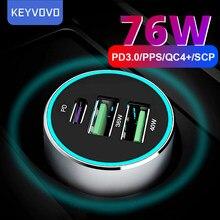 76w pps pd qc 3 usb metal carregador de carro rápido para o iphone 12 xiaomi samsung huawei p40 5a supercharge sfcp oneplus traço afc qc3.0