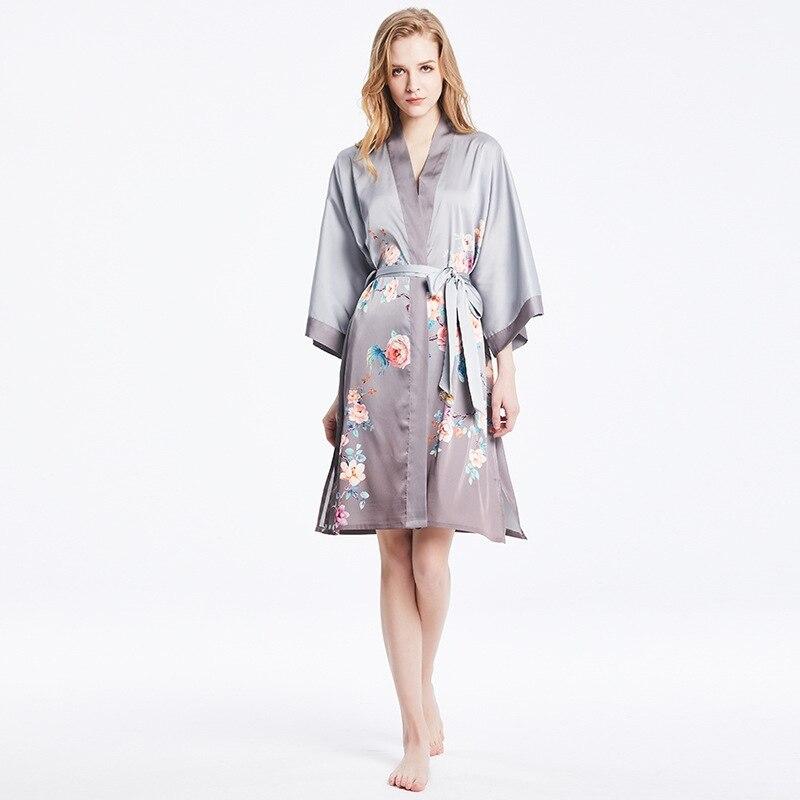 Women's Simplicity Pajamas Robes Silk Robes Hot Grey Print Kimono Bathrobe Sleepwear One Size