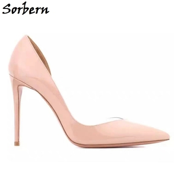 Sorbern Nude Women Pumps Pointy Toe Slip On Shoe High Heel Party Heel Stilettos Mature Ol Shoes For Women Heels 2020 Custom