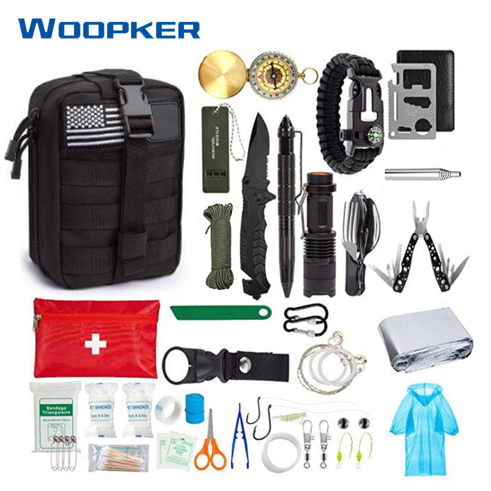 47-in-1 Emergency Survival Kit SOS Survival First Aid Kit With Flashlight Saw Pliers For Wilderness Camping Travel Tactical