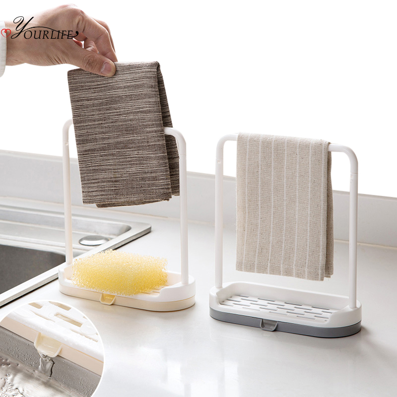 OYOURLIFE Removable Kitchen Desktop Sink Organizer Sink Sponge Holder Drain Drying Rack Bathroom Kitchen Sink Accessories Holder
