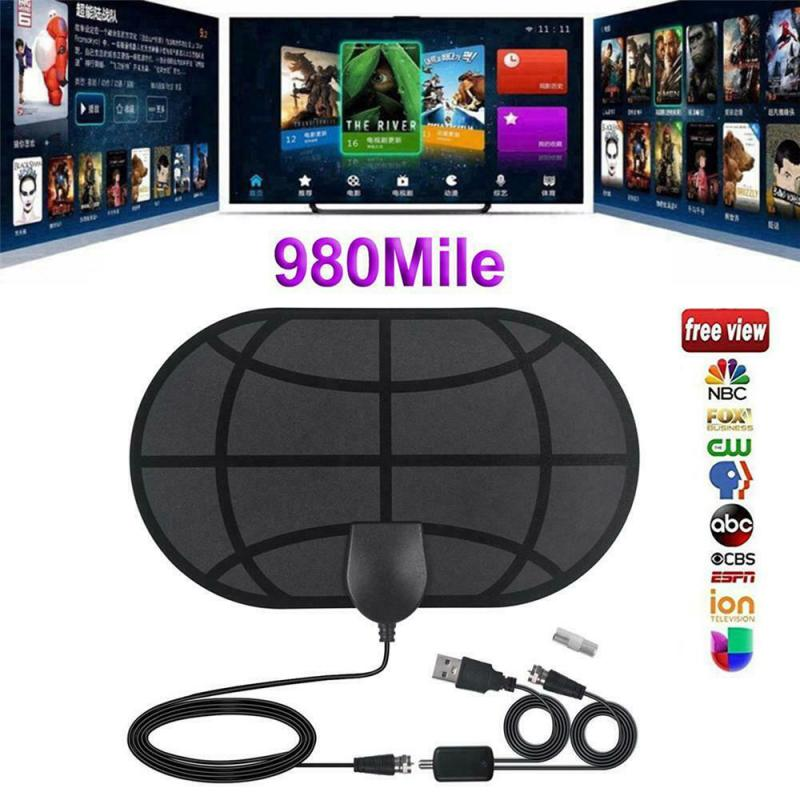 HD 1080P Indoor Universal Digital TV Antenna DVB-T2 ATSC 25Mile Amplifier Aerial