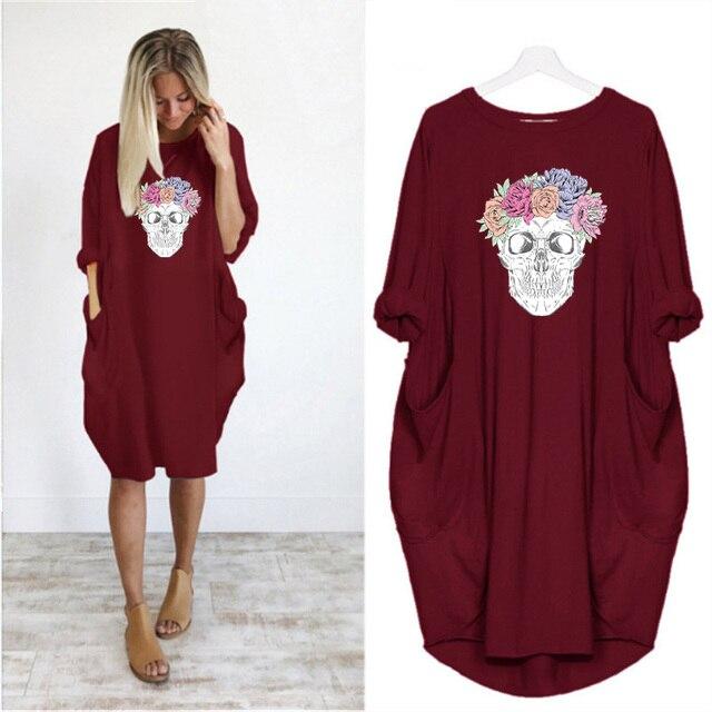 Plus Size 5XL Women's Dress Skull Print Long Sleeve O Collar Pocket Loose Casual Female Dresses Vintage Vestidos Robes Femme 4