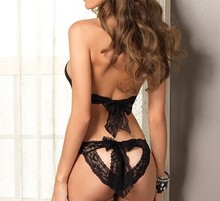 New Sexy Lingerie Hot Black Lace Spliced Erotic Costumes Temptation Transparent Sleepwear Porno