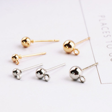 2pcs diy handmade jewelry basic accessories pure gold electroplating simple earring material with round head bead