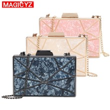 Women Luxury evening bag Chain Strap Women Shoulder Crossbody Bag Acrylic marble texture Party Banquet handbags femme Clutches(China)