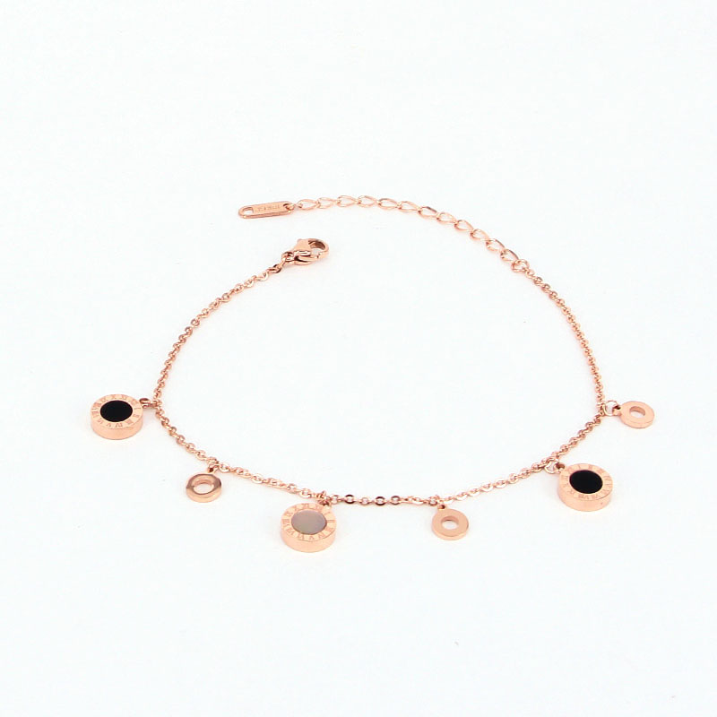 Delicate Hang Three Circle And Three Roman Numeral Black And White Shell Anklet For Women Stainless Steel Rose Gold Color Anklet