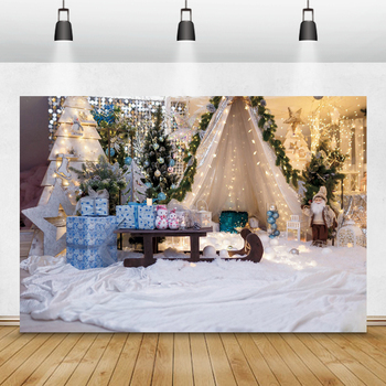 Christmas Photocall Pine Tent Gift Sled Fireplace Carpet Photography Backdrops Photo Backgrounds Family Portrait Props