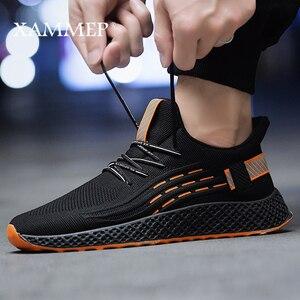 Image 5 - Sapatos casuais dos homens das sapatilhas dos homens sapatos masculinos apartamentos de malha marca mocassins deslizamento na sapata primavera outono tamanho grande sapato respirável xammep