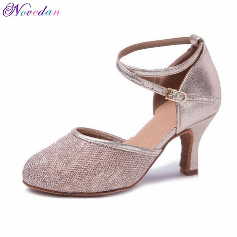Women/'s Modern Dance Heels Shoes Closed Toe Ballroom Latin Tango Dancing Shoes