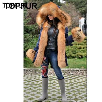 TOPFUR Fashion Winter Real Fox Fur Parka Women Luxury Warm Gold Fox Fur Parkas Plus Size Full Pelt Fox Fur Collar & Fox Cuff фото