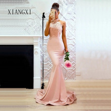 Mermaid Long Prom Dresses 2019 Vestidos de Fiesta de Noche Robe de Soiree Halter Neck Backless Lace Dress Prom