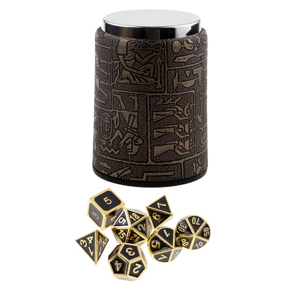 7 個の金属 & ドラゴンズため多面体サイコロサイコロテーブルゲーム RPG MTG + サイコロカップ #1