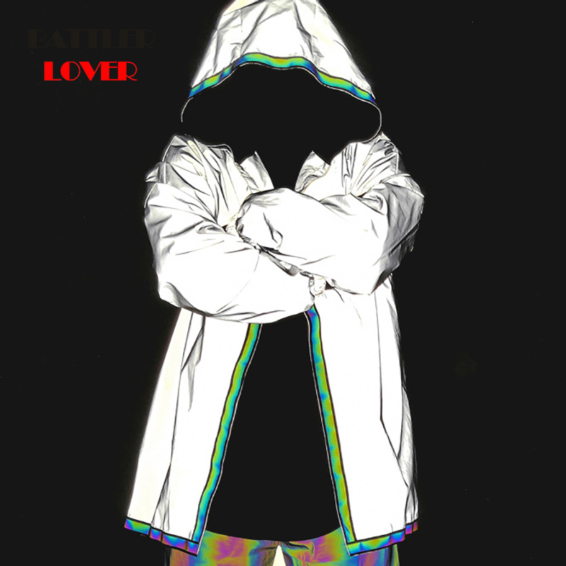 Men Jacket Hip Hop Windbreaker 3M Reflective Jacket Coat Hooded Fluorescent Clothing Men