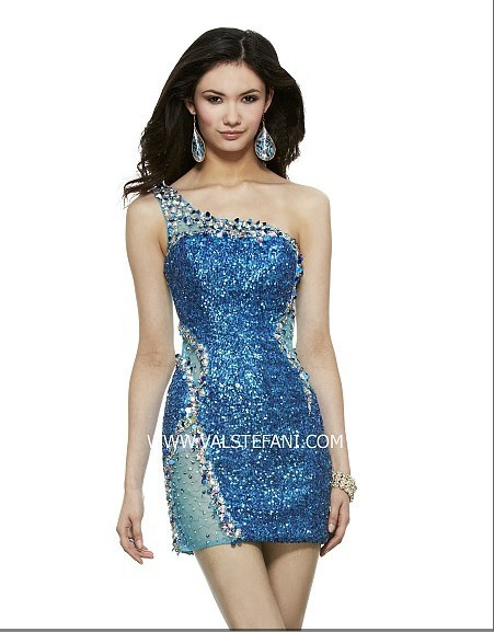 Free Shipping Beaded Crystal One Shoulder Short Vestido De Noiva Sexy Blue Elegant Christmas Party Mother Of The Bride Dresses