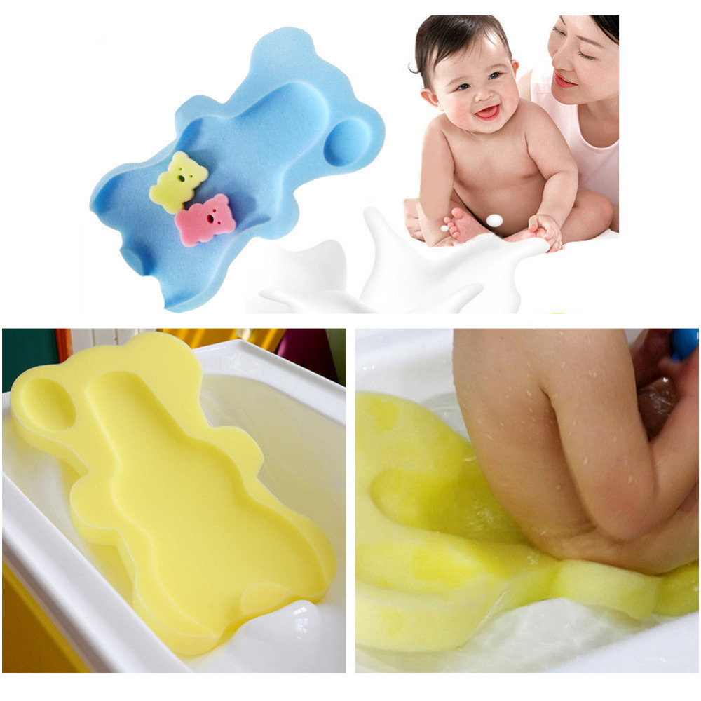 Baby Bath Seat Infant Non Slip Soft Bath Foam Pad Mat Body Cushion Sponge Bathtub Mat Safety Bathtub Seat + 2pcs Foam Rub Gift