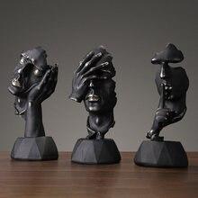Preto europeu Resina Escultura Pensador Figuras Em Miniatura do Modelo Arte Artesanato Enfeites Para Casa Acessórios de Decoração Presente de Aniversário