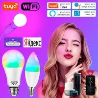 15W TUYA Smart wifi Lampe B22 E14 RGB LED Glühbirne E27 alexa Lampe Google Home 85-265V CW WW Dimmbare Magie Lampen Voice Control
