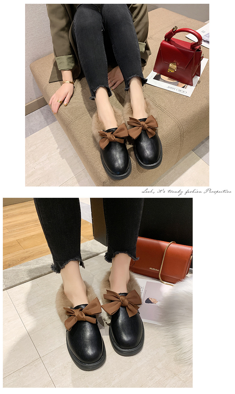 2019 winter long plush warm fur shoes bow tied decorate slip-on leather bullock shoes woman anti-skid chunky leisure espadrilles 49