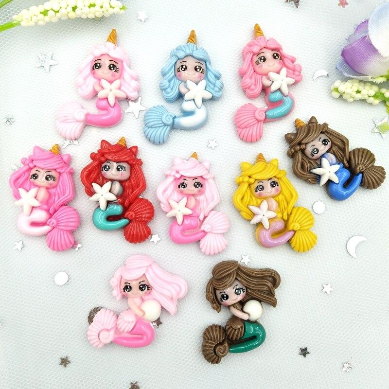 10pcs Mixed Cartoon Princess Mermaidl Flatback Resin Cabochons Embellishments Scrapbook Craft DIY Hair Accessories