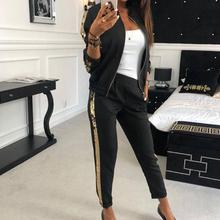 Autumn New Fashion Casual Sequins Stitching Jacket Trousers Sports Suit Women Outdoor Fitness Sweatpants+ Streetwear