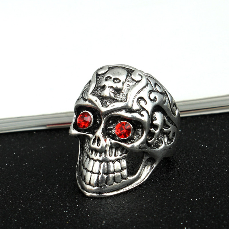 Punk Men Stainless Steel Rings Vintage Statement Hip Hop Red Eye Skull Rings for Men Jewelry Accessories <font><b>Wholesale</b></font> <font><b>Lots</b></font> <font><b>Bulk</b></font> image