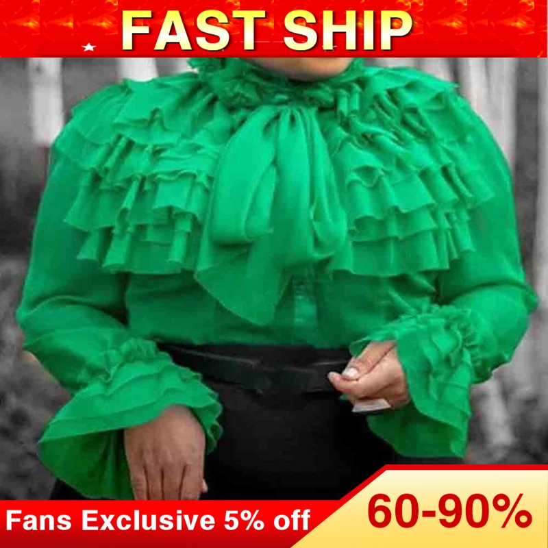 Summer Casual Green Plus Size Elegant Party Blouses Woman 2019 Falbala Tops Slim African Office Ladies Women Fashion Shirts(China)