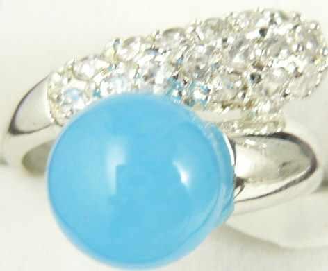 ขายส่ง noble blue หยกธรรมชาติคริสตัล inlay แหวนแฟชั่น (#7.8.9)