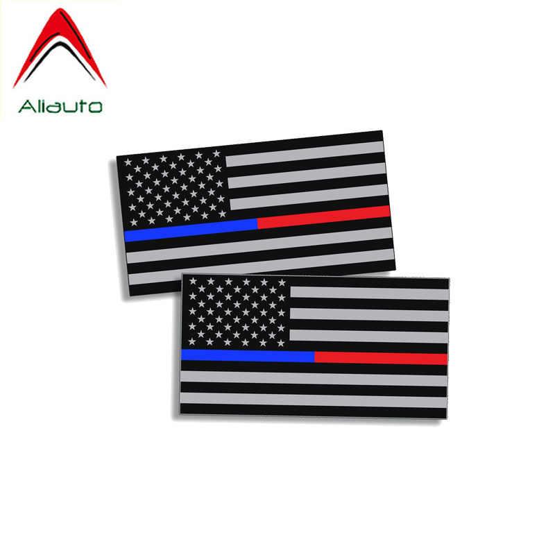 Aliauto 2 X Автомобильная наклейка светоотражающая полицейские, пожарные Emt Флаг США Наклейка ПВХ для Suzuki Jimny Subaru Impreza Gti, 12 см * 7 см