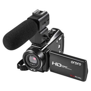 Ordro V7 Plus 1080P videocámara Full HD cámara de vídeo 16X Zoom Digital 3,0 pulgadas pantalla táctil infrarroja micrófono de visión nocturna