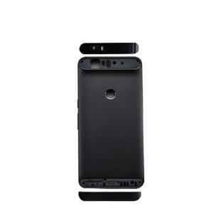 Image 2 - Para huawei google nexus 6 p bateria de volta capa traseira porta habitação + superior lente flash lente vidro substituição peças reparo