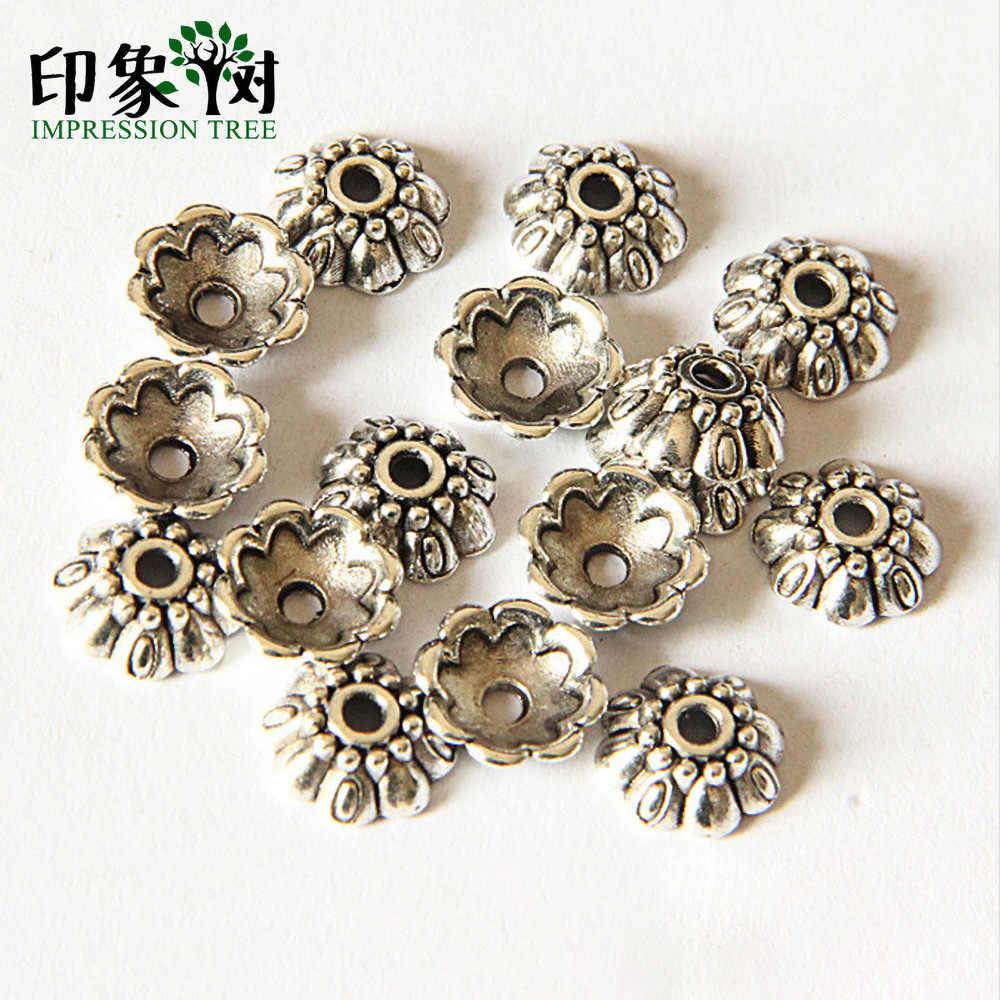 1 sztuk 9.1mm tybetański srebrny styl pięć płatek kwiatu grawerowanie Torus akcesoria dla DIY tworzenia biżuterii hurtowych 2127