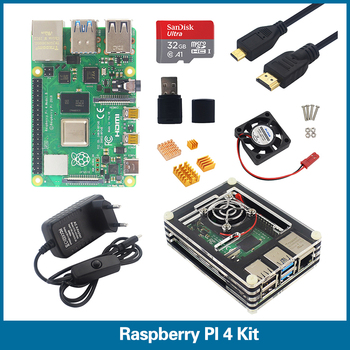 цена на S ROBOT Raspberry Pi 4 Model B kit 1G 2G 4G RAM 2.4G&5G WiFi Bluetooth 5.0+Micro HDMI + Case + Power Supply + 32GB SD RPI4