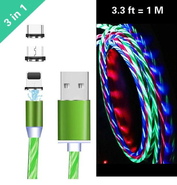 3 in 1 Magnetic Flash Cable LED flashlight Magnet USB Charger Cable 1M For iPhone 8 Plus XR XS 11 Pro MAX Samsung S10 Wire Cord