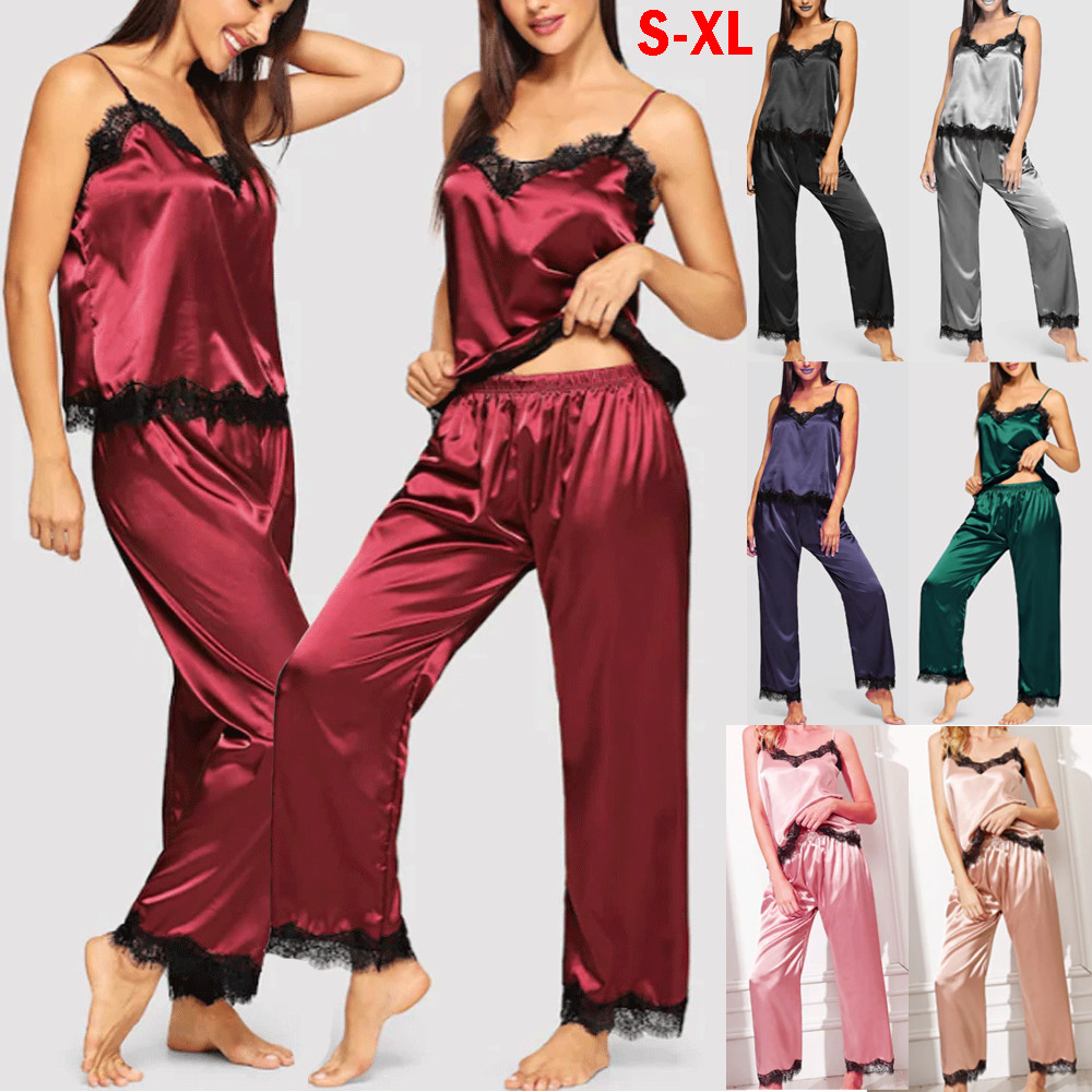 New Elegant Fashion Womens Lady Silk Satin Casual Sleepwear Babydoll Sexy Lingerie Women Nightwear Long Pyjamas Set