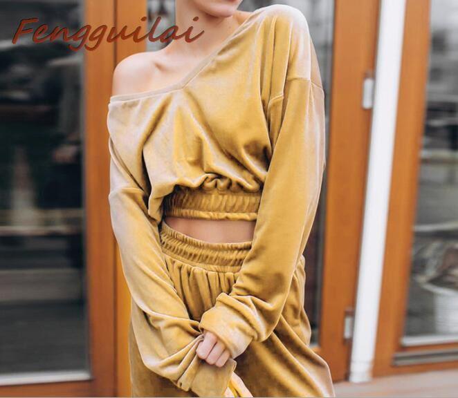 FENGGUILAI Autumn Winter Women's Suede Suits Mid Line Tracksuit Long Sleeve O-neck Pullover Tops+Pant 2 Piece Set Khaki Black
