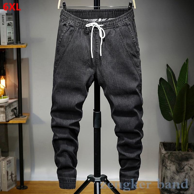 Spring Harem Jeans Big Size Men's Loose 6XL Large Size Stretch Slim Feet Pants Korean Trend Beam Plus Size Pants 6XL