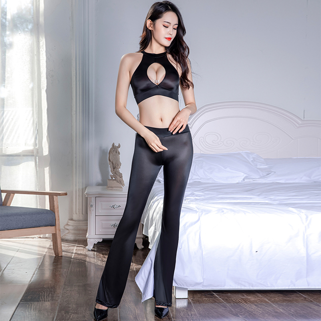 Thin Transparent Soft Silky Elastic Pants Porn Hollow Chest Tops Set Erotic Club Allure Costume Sexy See Through Glossy Leggings 3