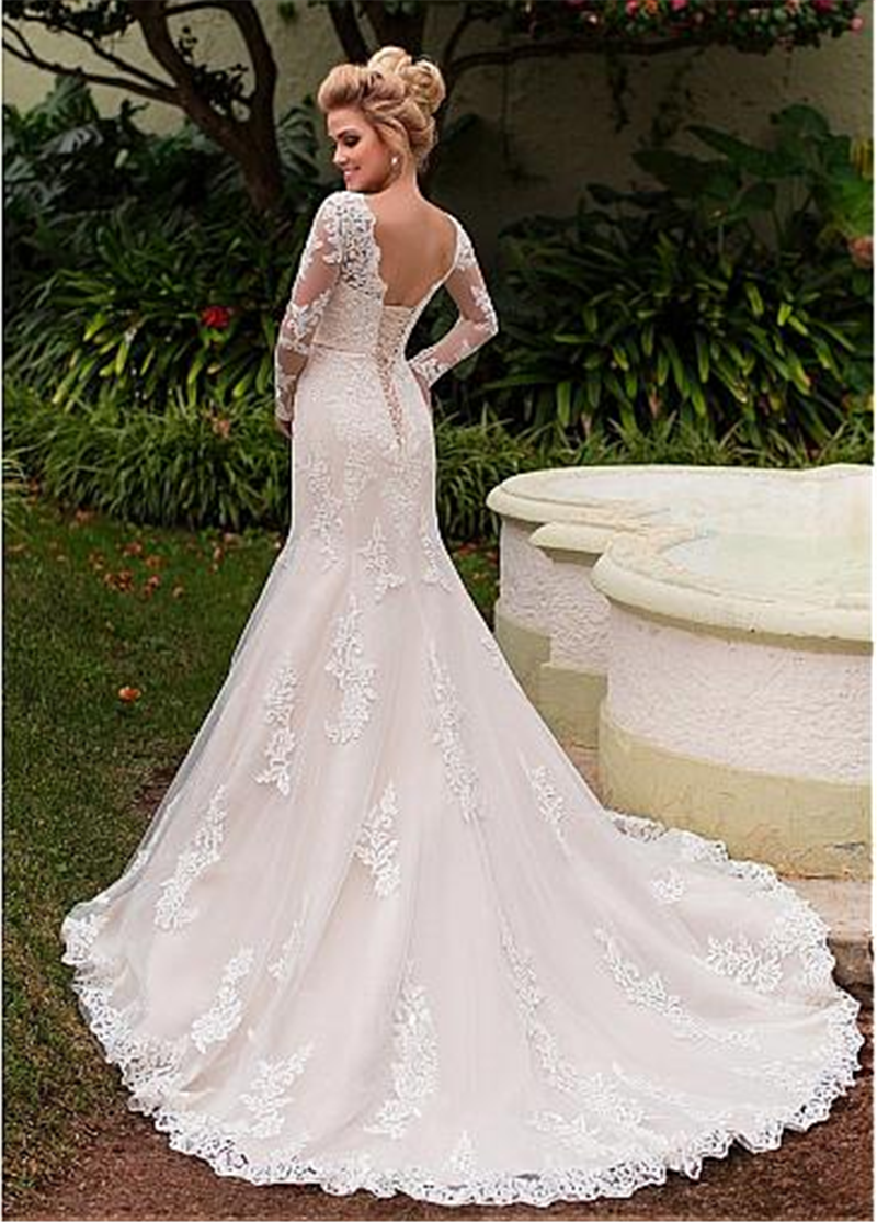 Modest Scoop Neck Long Sleeves Mermaid Wedding Dresses Lace Appliques With Lace Up Corset Bridal Gowns Vestidos De Novia