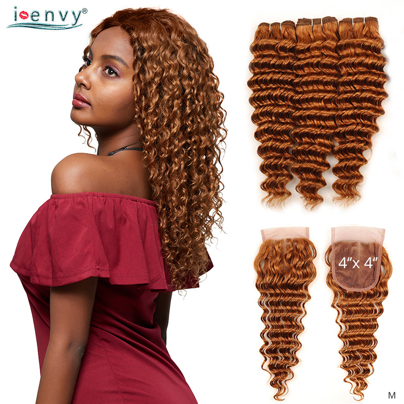 Brazilian Ginger Blonde Deep Wave Bundles With Closure Human Hair Weaves Colored 3 Bundle With Closure Gold Blonde Hair Non-Remy