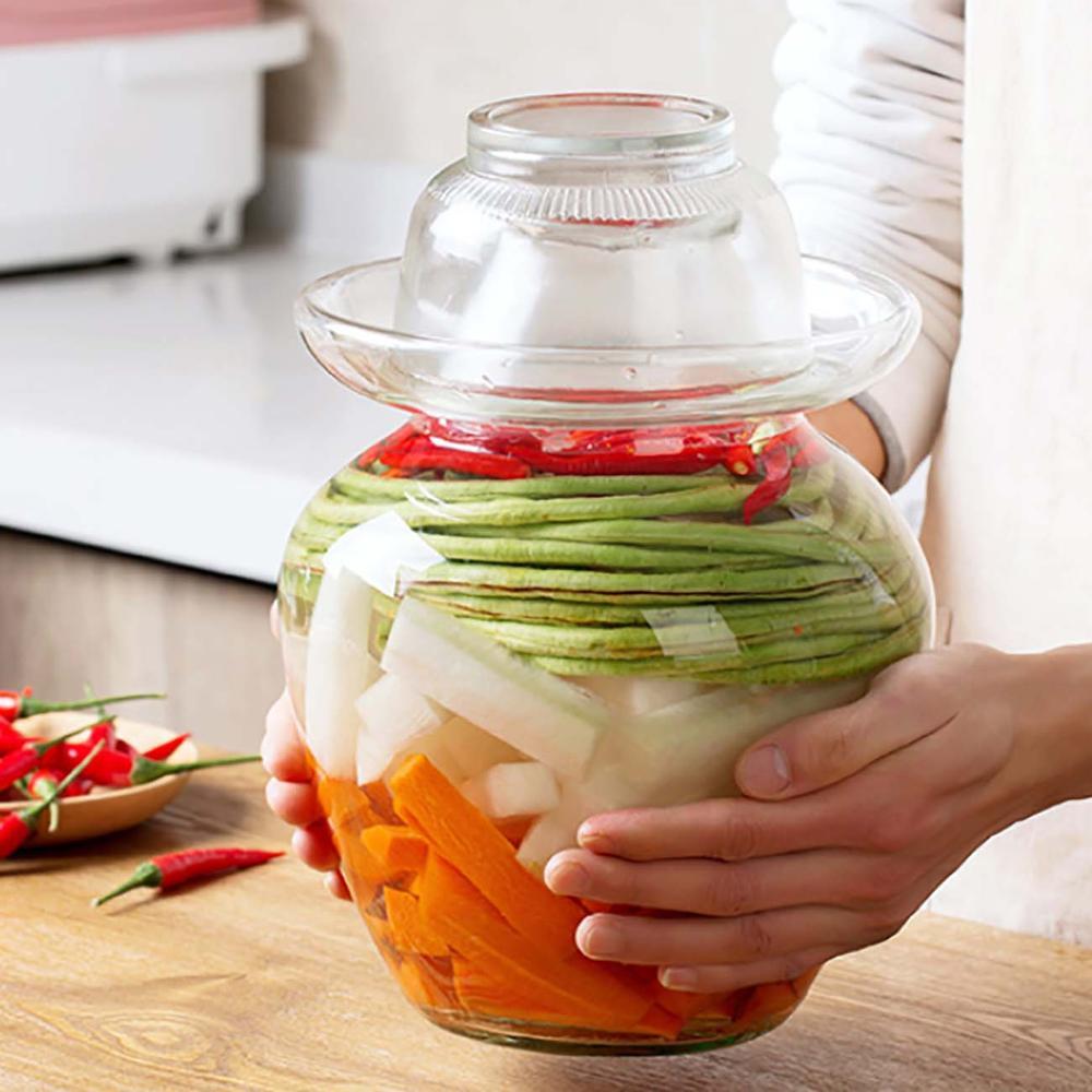 1 pc 한국 유리 용기 김치 항아리 주방 두꺼운 절인 캔 가정용 절인 항아리 피클 실린더 봉인 된 캔