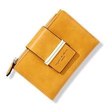 2020 새로운 여성 짧은 지갑 빈티지 디자인 숙 녀 돈 지갑 여성 노란색에 대 한 지퍼 동전 주머니와 작은 Bifold 지갑