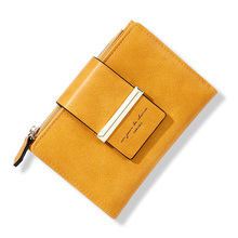 2020 NEW Womens Short Wallets Vintage Design Ladies Money Purses Small Bifold Wallet With Zipper Coin Pocket For Female Yellow
