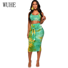 WUHE Two Piece Set Sexy Tie Dyed Print Tracksuit Women Sleeveless Short Tank Top  Lace Up Bodycon Skirt Suit 2pcs Dress