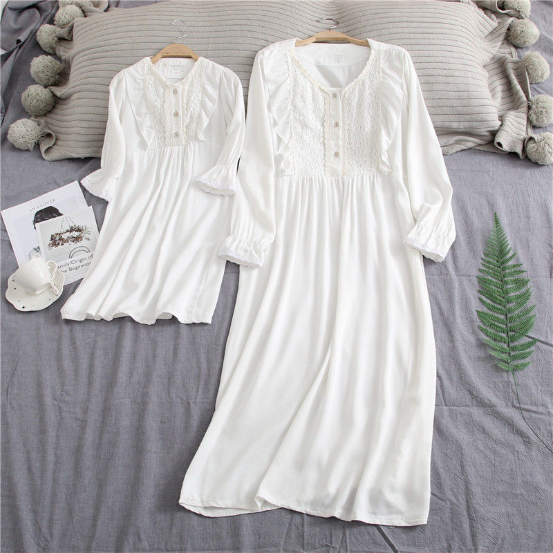 Girls-Long-Nightgown-Family-Pajamas-Sleeping-Skirt-Sweet-Princess-Mother-and-Daughter-Long-Sleepwear-Dress-Mommy