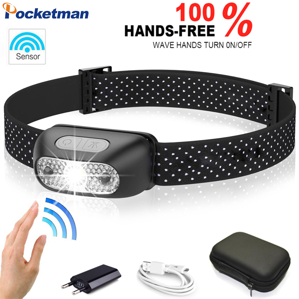 Pocketman Most Powerful Headlamp Motion Sensor LED Headlight USB Rechargeable Head Light Portable LED Head Lamp With USB Cable