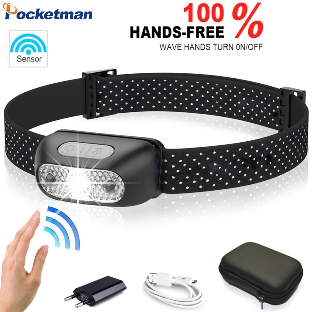 Pocketman Most Powerful Headlamp Motion Sensor LED Headlight USB Rechargeable Head Light Portable LED Head Lamp With USB Cable