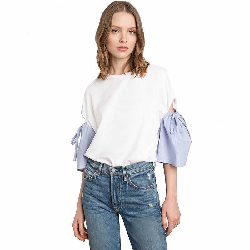 Currently Available Europe And America Loose-Fit Blouse 2018 Spring And Summer New Style AliExpress Stripes Of Sleeved Joint All