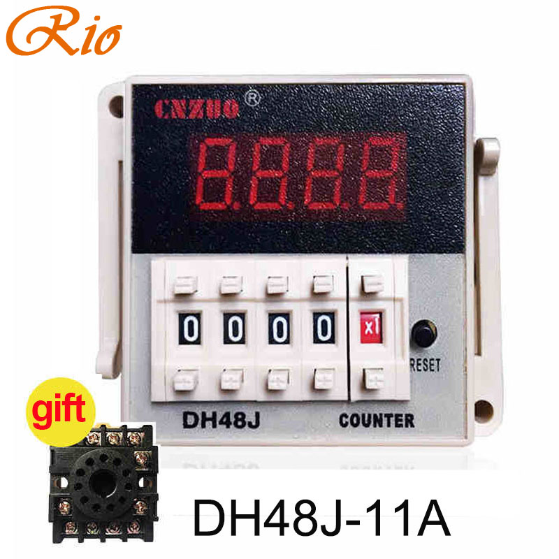 DH48J-8A DH48J-11A 220V 3A Electrical Digital Counter Preset 11 Feet 8 Feet Relay With Power Failure Memory Function with base